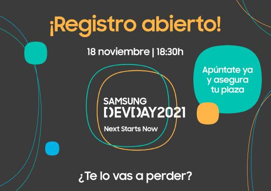 Registro abierto: ¡Apúntate ya al Samsung Dev Day 2021!
